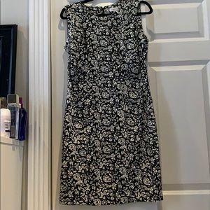Black and white flowered work dress